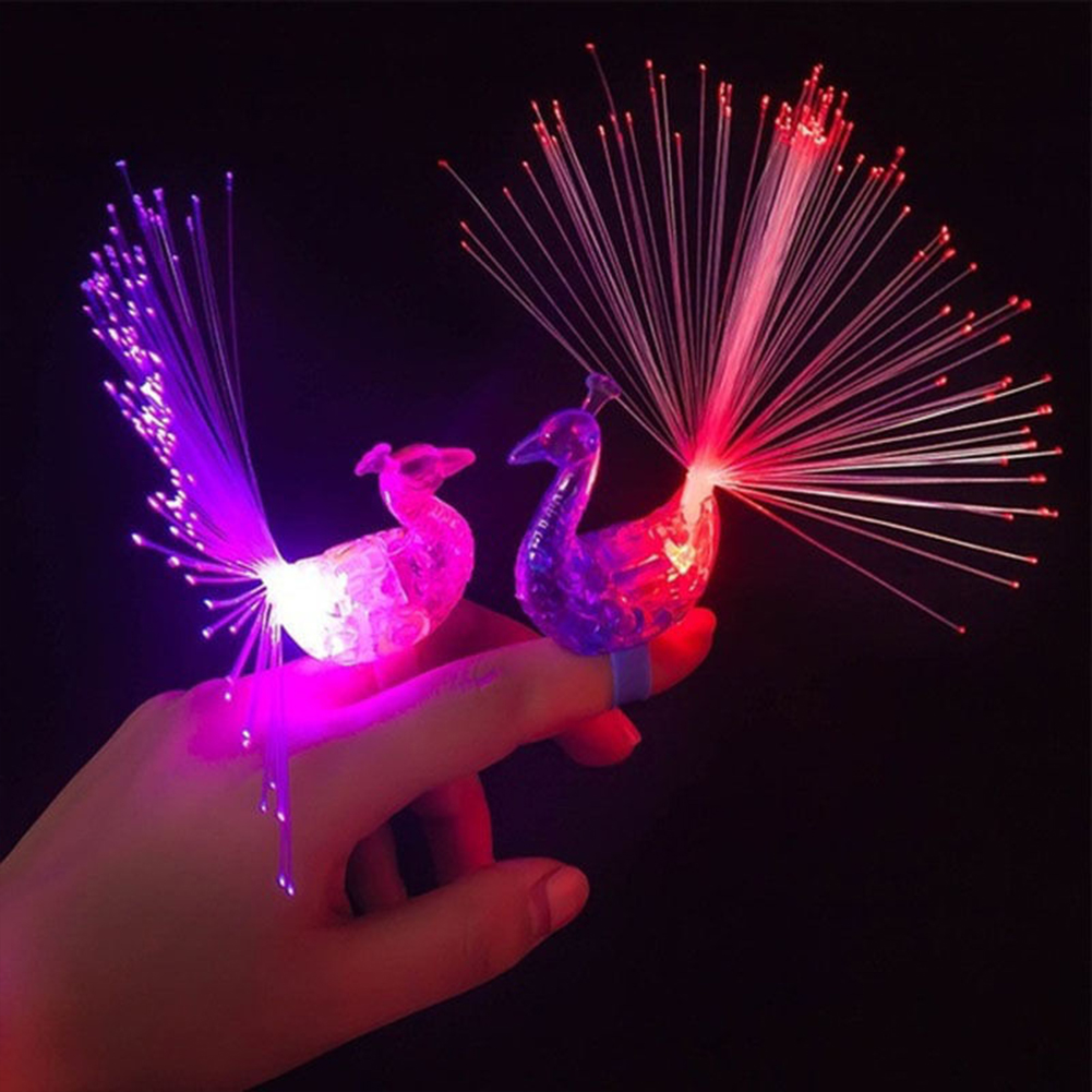 1Pc Colorful Luminous Toys Peacock Finger LED Light-up Ring Party  Rave Favors Gadgets Intelligent Toy For Kids Girls #20