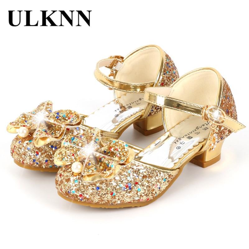 ULKNN Flower Children Sandals Summer Beach Princess Girl Shoes For Kids Glitter Wedding Party Sandalia Infantil Chaussure Enfant