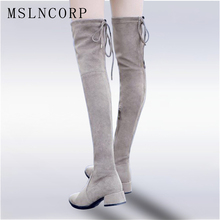 plus size 34-43 Over The Knee Boots Round Toe Women Boots Lady Stretch Fabric Fashion Boots Low Heel Genuine Leather Boots Shoes стоимость