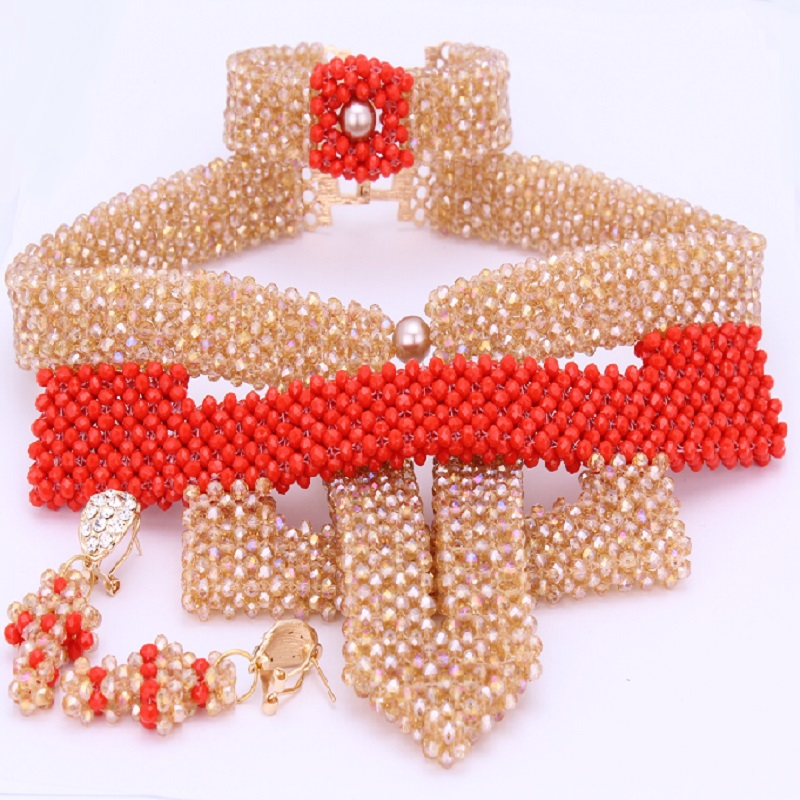 Dudo magasin bijoux ensembles Vintage or Orange/Beige rouge collier ensemble pour mariage perles de cristal à la main bijoux africains ensemble