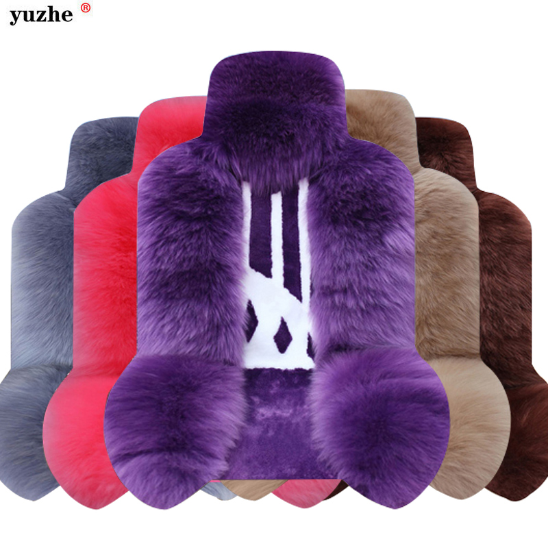 Universal Front & Rear wool car seat covers faux fur cute car interior accessories cushion styling winter plush seat cover kkysyelva universal leather car seat cover set for toyota skoda auto driver seat cushion interior accessories