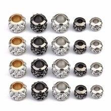 20 pièces Strass Perles De Cristal Rondes Or Couleur Argent Grand Trou Perles D'espacement pour Bijoux Bracelet À BRICOLER SOI-MÊME Collier En Gros