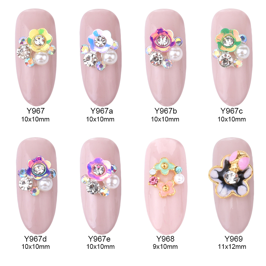 10pcs glitter AB 3d flowers pear rhinestones nail art charms for nails decorations supplies YH148