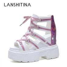 2019 Fashion Women Summer High Heels 10CM Platform Sandals Women Wedge Heel Breathable Sneakers Lace-up Summer Gladiator Sandals