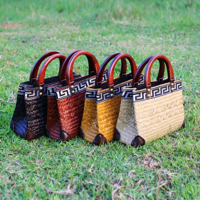 Thai version of pure hand-woven seaweed bag fashion retro bag handbag holiday package bag handbags beach bag