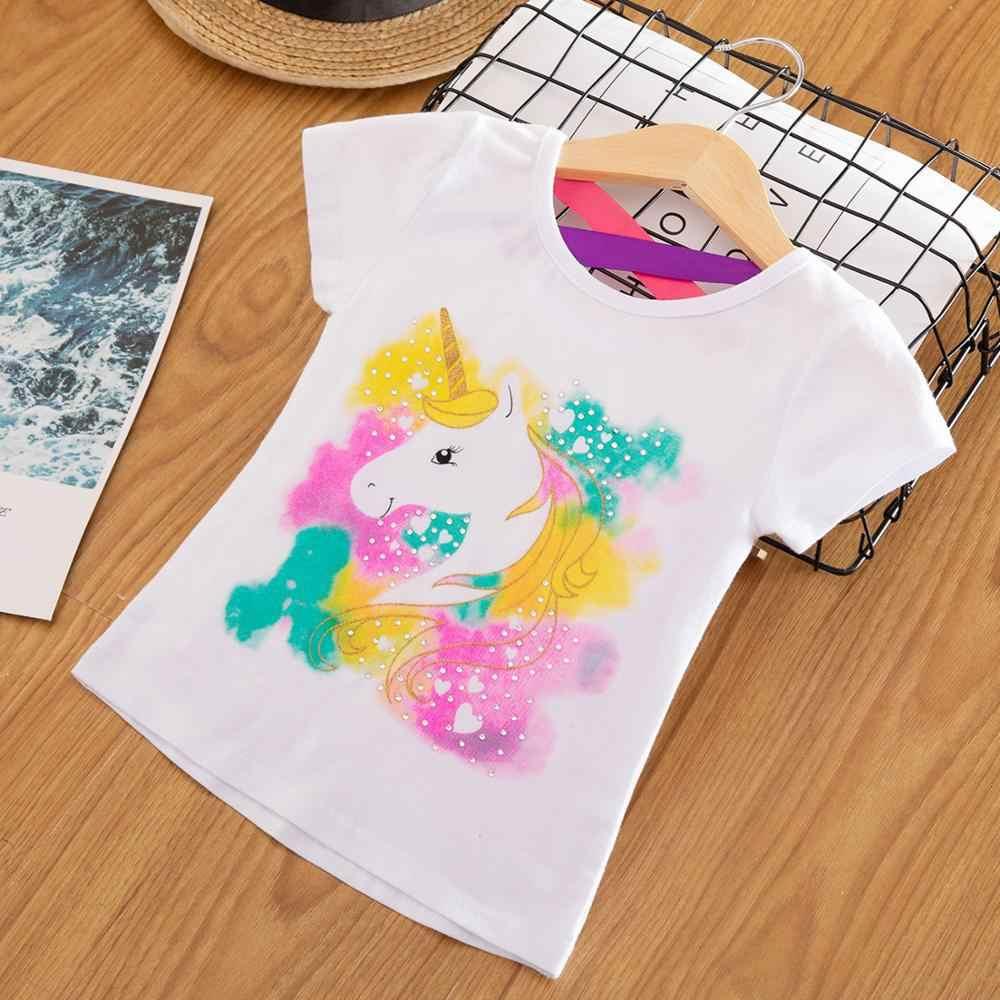 ילדים ילדה T חולצת קיץ תינוק ילד כותנה חולצות פעוט טיז בגדי ילדים בגדים Unicorn חולצות קצר שרוול מזדמן ללבוש
