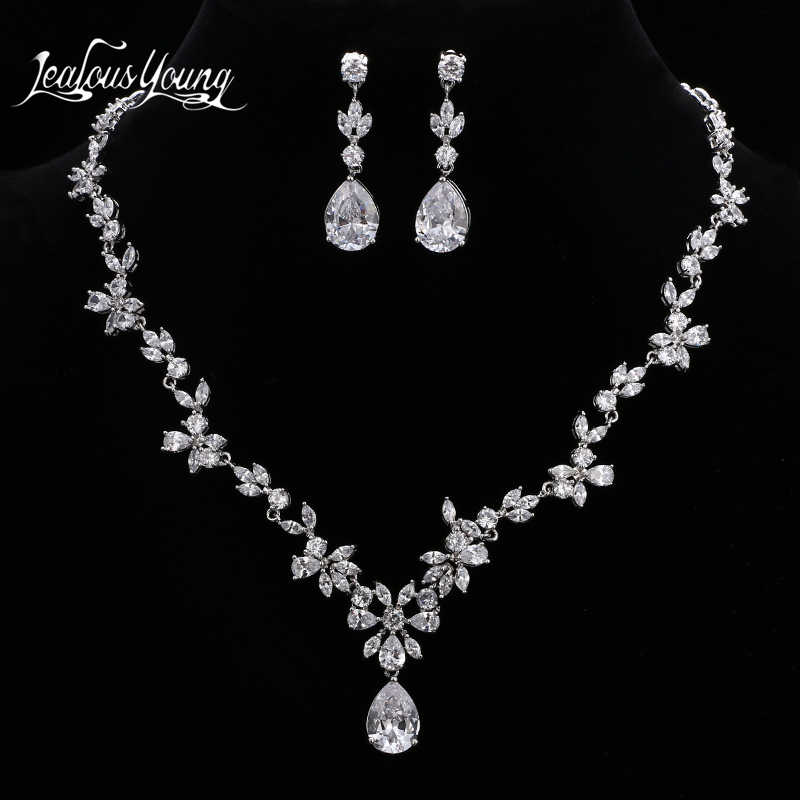 Luxury Flower Design Water Drop Crystal Bridal Jewelry Sets For Women Wedding AAA Zircon African Jewelry Set Jewellery AS147