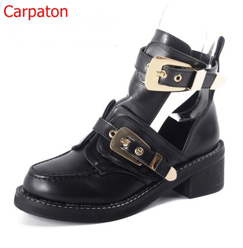 High Quality Luxury Summer Autumn Women Ankle Boots Square Heels Buckle Hollow Faux Leather Woman Punk Shoes Metal Decoration high quality genuine leather women shoes spring and autumn high heels women boots hollow out lace ladies fashion boots