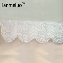 Detachable white ice silk swag for wedding backdrop drapes curtain decoration table skirt 6 meter length with tassel