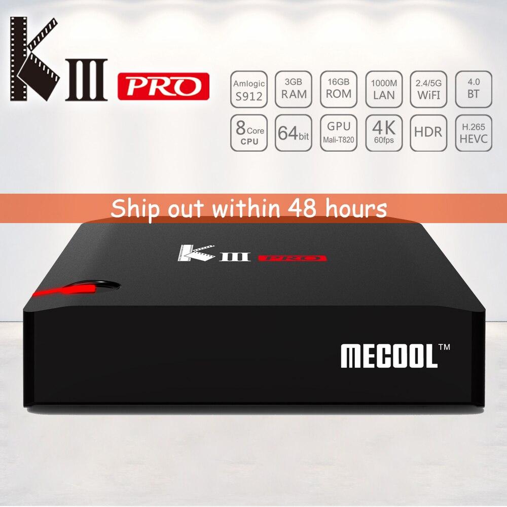 Prix pour MECOOL KIII PRO Smart TV Box Octa core Amlogic S912 DVB T2 et DVB S2 Android 6.0 Construit en 2.4G/5G WiFi Bluetooth 4.0 Médias lecteur