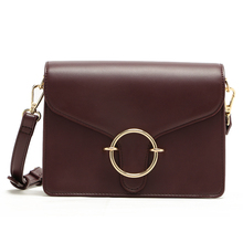 MICOCAH Metal Ring Crossbody Black Bag Women PU Leather Messenger Bags Deep Red/ MSD191