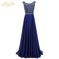 BeryLove Long Blue Prom Dress 2019 Diamond Rhinestone Bodice Chiffon Formal Prom Gown Boat Neckline Party Dress abiye festa