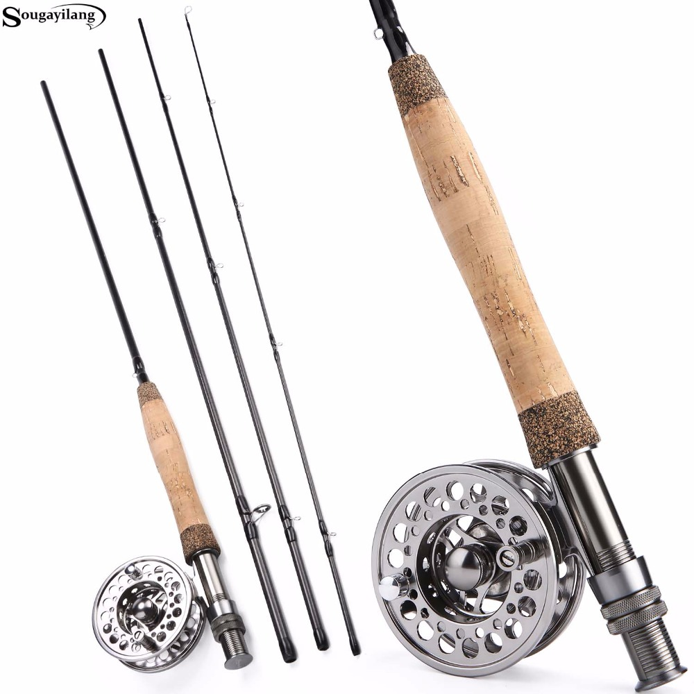 Sougayolang Fly Fishing Rod and Fly Reel Combo 2.7m Carbon Portable Fly Rod 5/6 Full Metal Fishing Reel Set Fishing Tackle Pesca nunatak fly rods combo maxway honor 3 4 2 4m fly fishing rod reel rod bag 24pcs box lure tackle set for trout fishing
