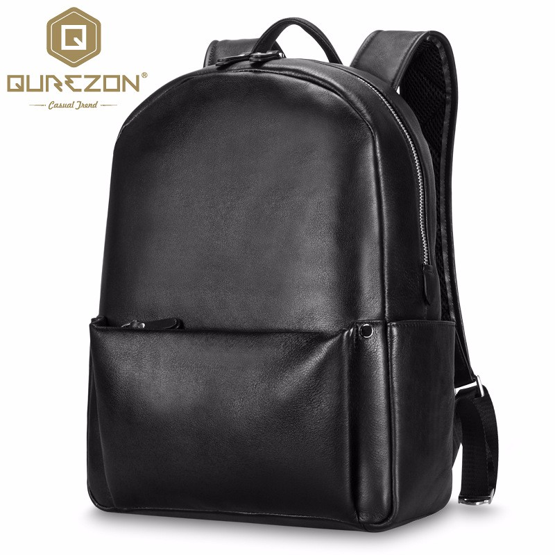 2016 New Designer Men Genuine Leather Backpack Top Quality Leather Double Shoulder Bag School Bag Book Rucksack for male Mochila