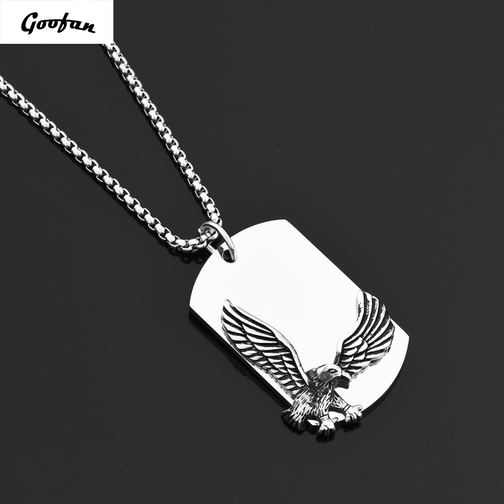 Goofan Hiphop Men Personality Silver Eagle Farm Dog Tags Pendant&Necklace316L Stainless Steel Jewelry STN665 image