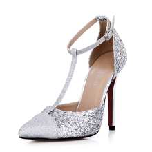 Vintage Silver Womens Pumps Cheap Modest T Strap Buckle Strap Ladies Party Shoes HIgh Thin Heels Pointed Toe New Arrive Hot