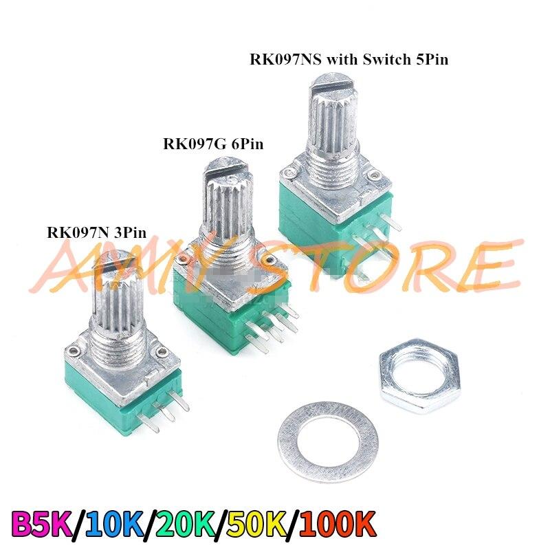 10 шт. RK097N RK097G RK097NS 15 мм аудио усилитель герметичный один двойной потенциометр B5K B10K B20K B50K B100K 3/5/6 контакты