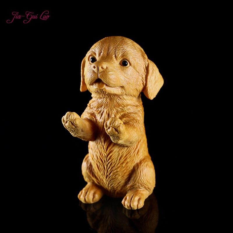 JIA-GUI Ло 9 см Самшит резьба ремесла дома Животные декоративные украшения щенок довольно подарок на день рождения A051