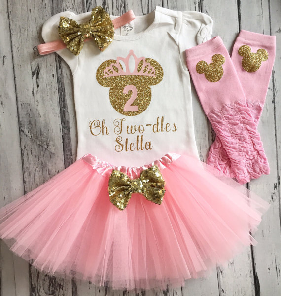 custom name pink Minnies mouse first birthday bodysuit onepiece Tutu  legwarmers toodles Outfit Set baby shower party favors -in Party Favors  from Home ... 47cb00d98265