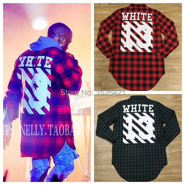71a40a9ff 2015 New hip hop fashion kanye west men t shirt,off white print 13 virgil long  sleeved red plaid dress tshirts