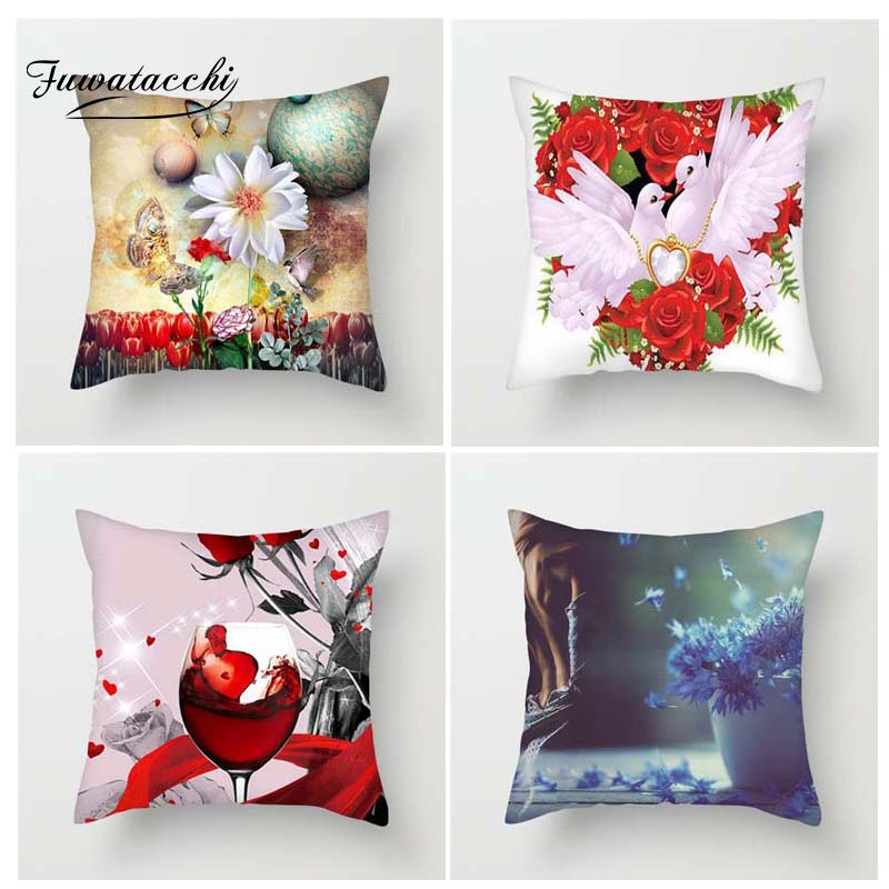 Fuwatacchi Multi Color Floral Printed Cushion Cover Yellow Red BlueFlower Pillow Cover Decorative Pillowcase For Home Sofa