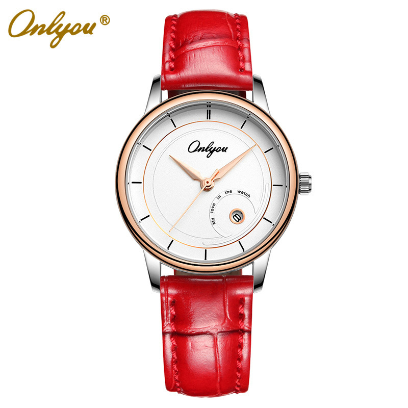 ФОТО Onlyou Brand Fashion Casual Genuine Leather Watch  Rose Gold Black Women Men Quartz Watchristwatches Male Female Clock 81028