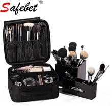 Safebet 2017 Fesyen Baru Pepejal Black Square Waterproof Wanita Kosmetik Beg Organizer Profesional Beautician Makeup Briefcase