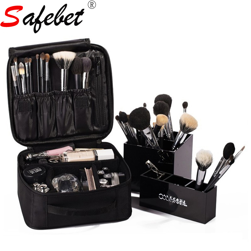 SAFEBET Profession Beautician Makeup Briefcase Fashion Female Tool Storage Cosmetic Bag Handle Solid Black Square Zipper Oxford
