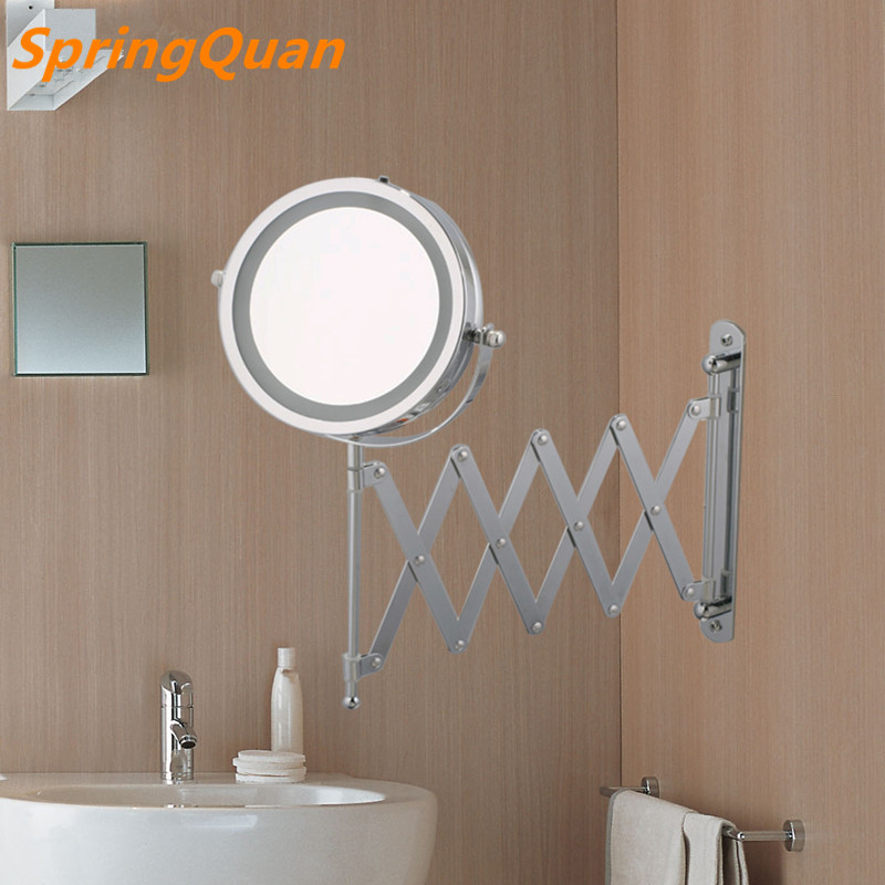 7 inches  high definition 2-Face bathroom scale mirror  LED  makeup mirror 5X magnification  Wall mirror 360 rotating Save space large 8 inch fashion high definition desktop makeup mirror 2 face metal bathroom mirror 3x magnifying round pin 360 rotating