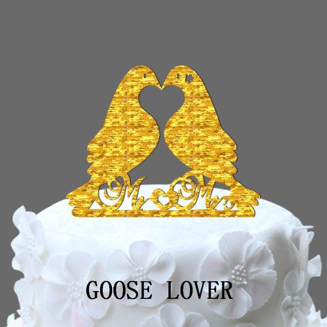 Online Shop Unique 2 Birds Wedding Cake Topper, Birds Mr&Mrs Cake ...