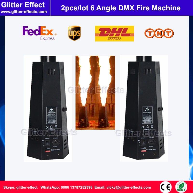 2 pcs/lot 200 W DJ Feu Machine Stage show Disco Effet Spécial DMX 512 hexagone pulvérisation flamme projecteur pour DJ nuit club bar