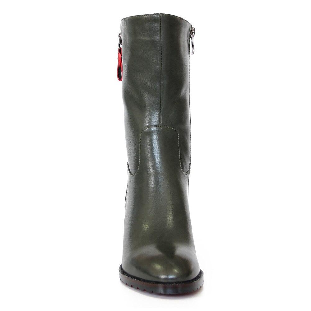 2019 1 Nuevo Del Pie Cortas Invierno Alto Casual Tacón H1370 Ternero Zapatos Dedo Mediados a1393m Retro Puntiagudo De Botas Damas Mujer Cuero Verde Oxfords rrFxdgqwS