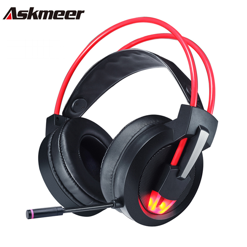 Askmeer USB Stereo Gaming Headphones casque 7.1 Surround Sound Channel Computer Headset with Microphone LED Lights for PC Gamer new askmeer deep bass stereo gaming headset over ear computer gaming headphones with microphone breathing led light for pc gamer