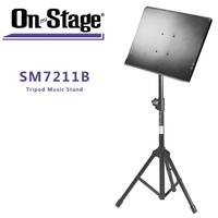 On Stage SM7211B Professional Grade Folding Orchestral Music Stand, Black