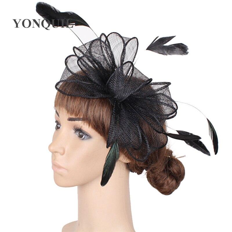 Винтажный белый головной убор Sinamay шляпа с причудливыми перьями Свадебные шапки Клубная кепка очень красивая 21 цвет можно выбрать SYF280 - Цвет: Черный