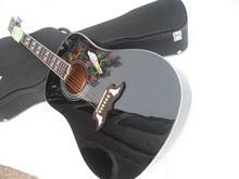 Top Quality Factory Custom Black Dove Spurce Top 6 String Acoustic ( Electric ) Guitar Can be Installed Fishman 101/301 Pickup