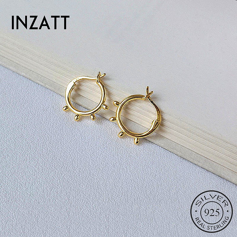 INZATT Hoop-Earrings Fine-Jewelry Geometric 925-Sterling-Silver Minimalist Real Round title=