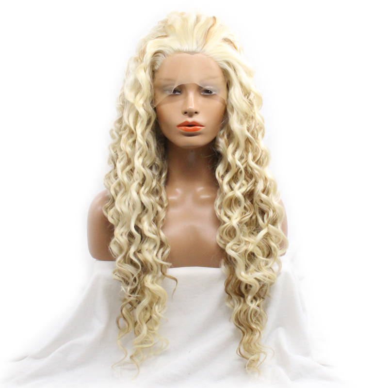 DLME Long Platinum Blonde Wig Fiery Red Deep Wave Lace Front Wigs Synthetic Heat Resistant Fiber Fully Women Hair Free Part