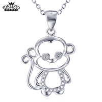 DELIEY Genuine 925 Sterling Silver Lovely Monkey Pendant Necklace Fine Jewelry For Women And Men