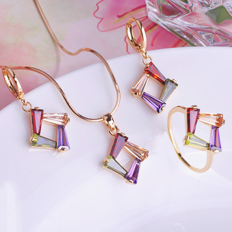 Copper Necklace Earrings Ring Set CZ Zirconia Joias Rhinestone Fine Jewelry Sets Collares Mujer Pendientes Wedding Accessories