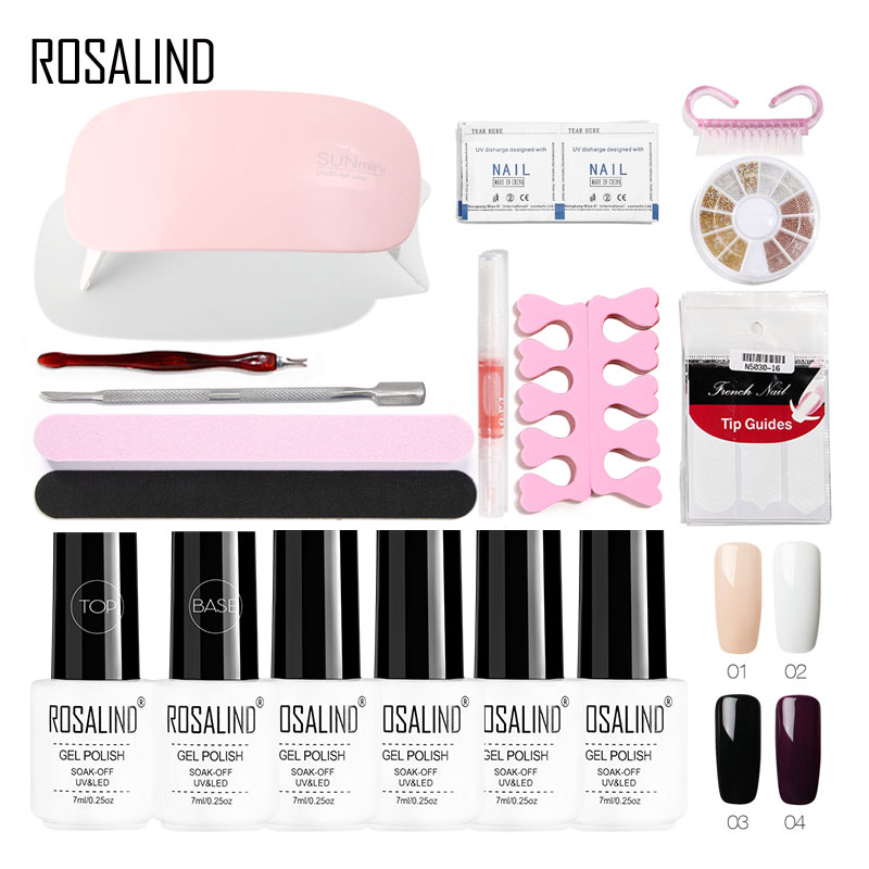 ROSALIND Gel Nail Kit With Lamp Nail Tools Set For Manicure Gel Varnish For Nail Extension Brush Design Nail Art Cutters Polish nail cutters set with bag