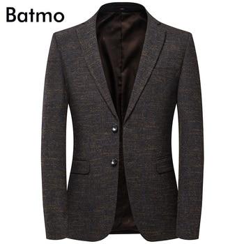 Batmo 2019 new arrival high quality cotton plaid casual blazer men,men's suits jackets ,casual jackets men 8136