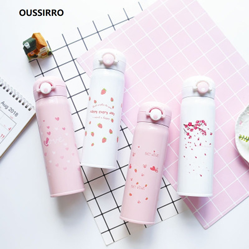 OUSSIRRO Children Lovely Originality Cherry blossoms Thermos Schoolgirl Portable Mini 304 Stainless Steel Vacuum Flasks
