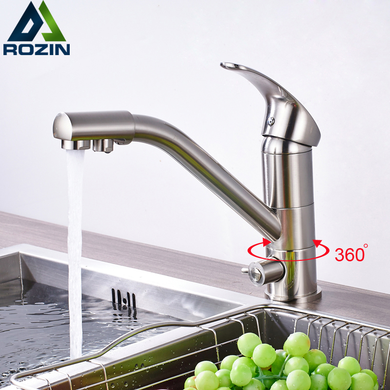 Brushed Nickel Kitchen Sink Faucet 360 Degree Rotation Deck Mounted Mixer Tap with Water Purification Drinking