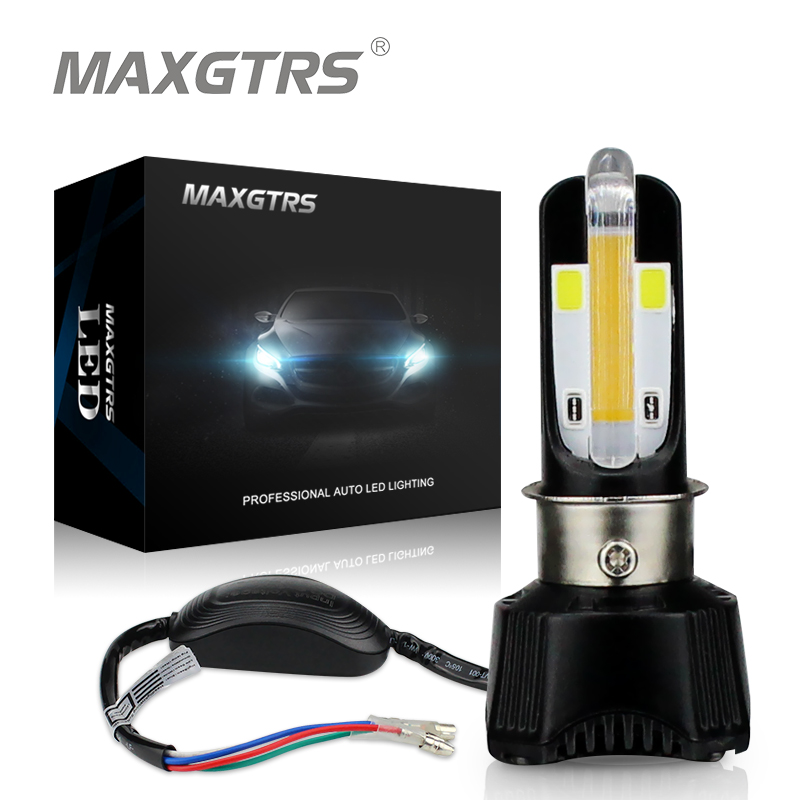 MAXGTRS LED Motorcycle Headlight Hi Lo Beam H4 HS1 Bulb BA20D 40W 4400LM COB Chip DRL Moto light Moped KMT EXC ATV Lamp 2016 new 800lm h4 white cob led hi lo beam motorcycle super bright headlight front light bulb lamp dc 6 to 80v