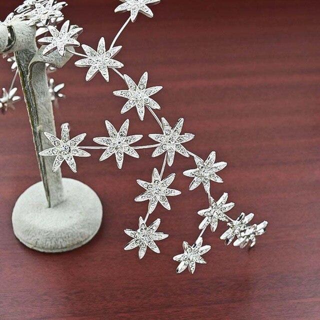 New Elegant Sparkly Crystal Star Tiara Hair Hoop Silver Plated Bride Headdress Rhinestone Hair Jewelry Wedding Accessories T-706
