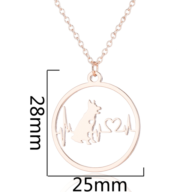 Yiustar Romantic German Shepherd Necklace Pendants Women Girls Tiny Heart and ECD with Dog Fine Jewelry Stainless Steel Necklace