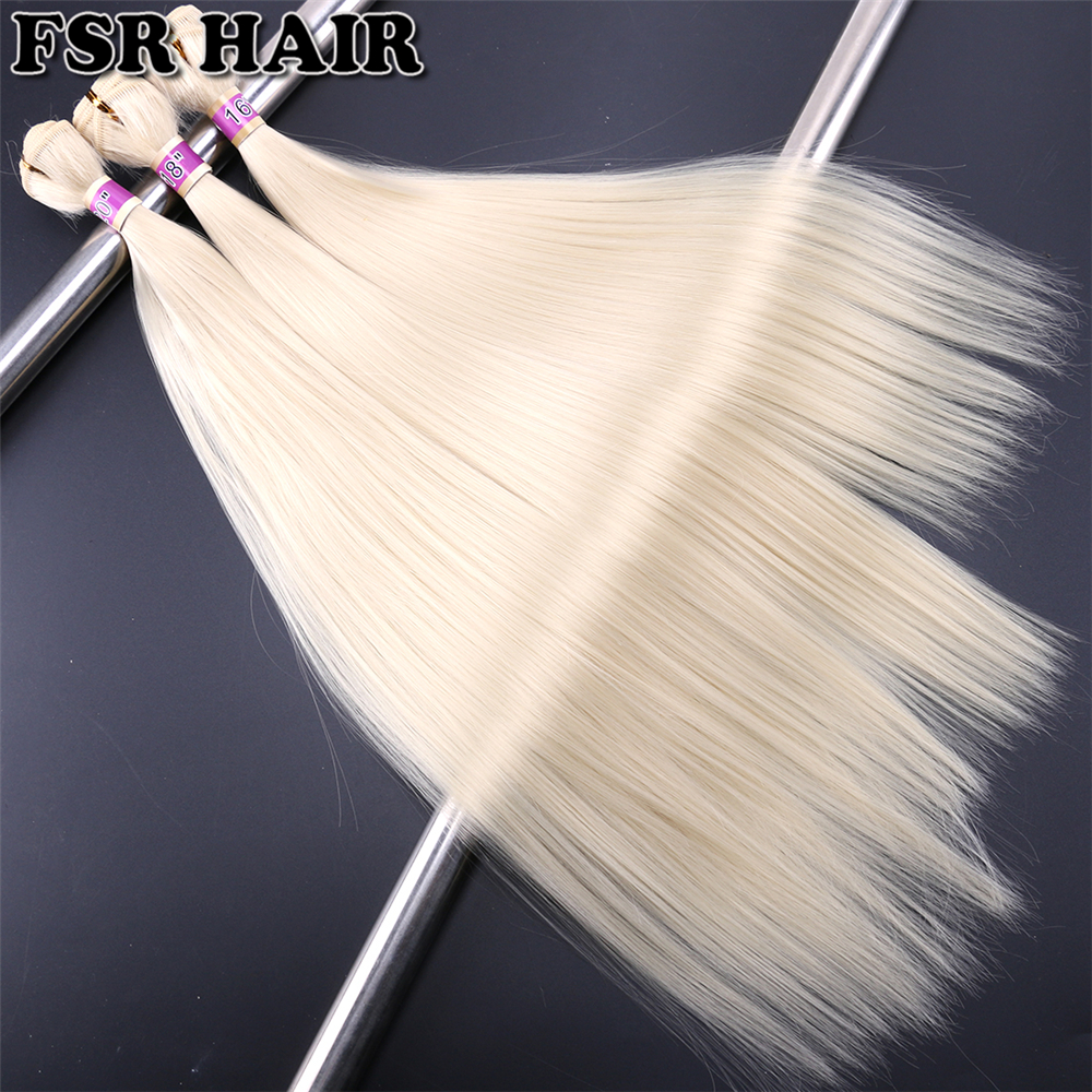 Blonde Synthetic Hair weave color 613 hair bundles Sew in Hair Extensions 16-20 Inch 3 bundles/Lot Silky Straight hair bundles