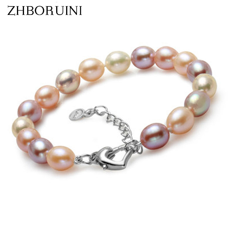 ZHBORUINI 2019 Fashion Charm Bracelet Natural Freshwater Pearl Jewelry 925 Sterling Silver Multicolor Pearl Bracelet WeddingZHBORUINI 2019 Fashion Charm Bracelet Natural Freshwater Pearl Jewelry 925 Sterling Silver Multicolor Pearl Bracelet Wedding