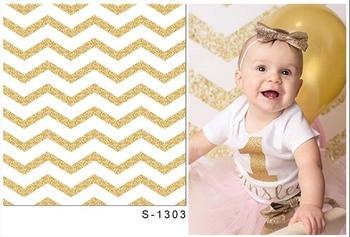 Vinyl Gold White Stripe Photography Backdrop For Children Baby Photo Studio Portrait Photography Background